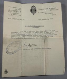 JSailer Aircraft Production Letter 1940