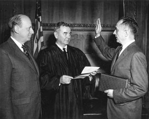 William Wilson White Being Sworn In to Justice Dept. Post by Justice William J. Brennan Jr.